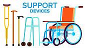 Support Items Vector. Walk Stick, Wheelchair. Isolated Flat Cartoon Illustration