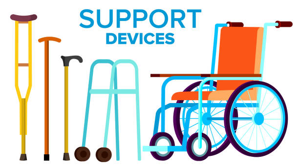 Support Items Vector. Walk Stick, Wheelchair. Isolated Flat Cartoon Illustration Support Items Vector. Walk Stick, Wheelchair. Isolated Cartoon Illustration wicker stock illustrations