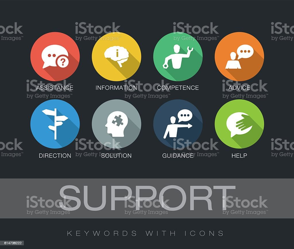 Support keywords with icons vector art illustration