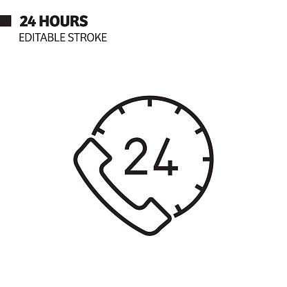 24H Support Line Icon, Outline Vector Symbol Illustration.