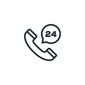 istock 24H Support Line Icon 1085743202