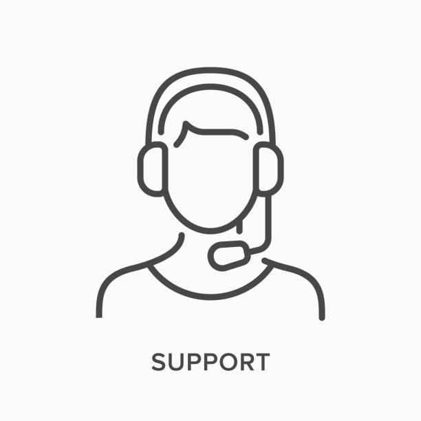 ilustraciones, imágenes clip art, dibujos animados e iconos de stock de icono de línea de soporte. ilustración de contorno vectorial del asistente de cliente en auriculares con micrófono. operador de línea de ayuda en pictorgam - gerente de cuentas