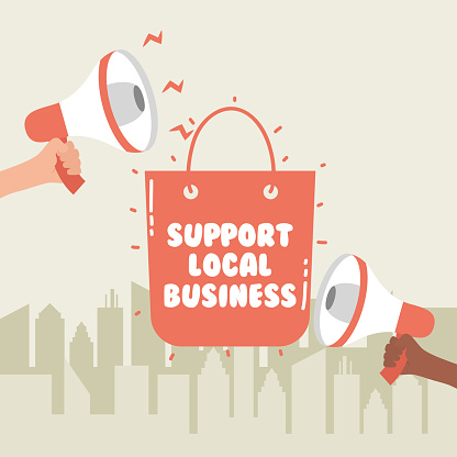support local business campaign with shopping bag and megaphones