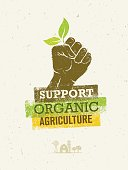 Support Local Farmers. Creative Organic Eco Vector Illustration on Recycled Paper Background
