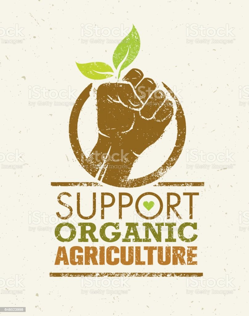 Support Local Farmers. Creative Organic Eco Vector Illustration on Recycled Paper Background vector art illustration