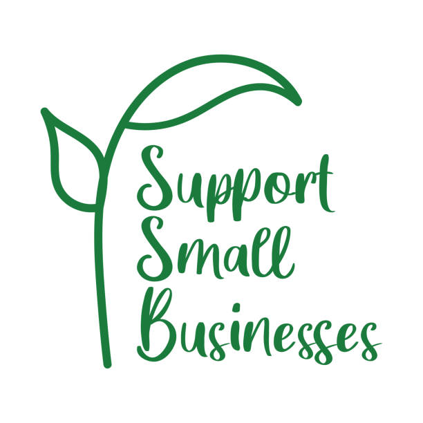 Support local small businesses logo. Dark green label with plant sprout illustration. Isolated vector element on white background. ethical consumerism stock illustrations