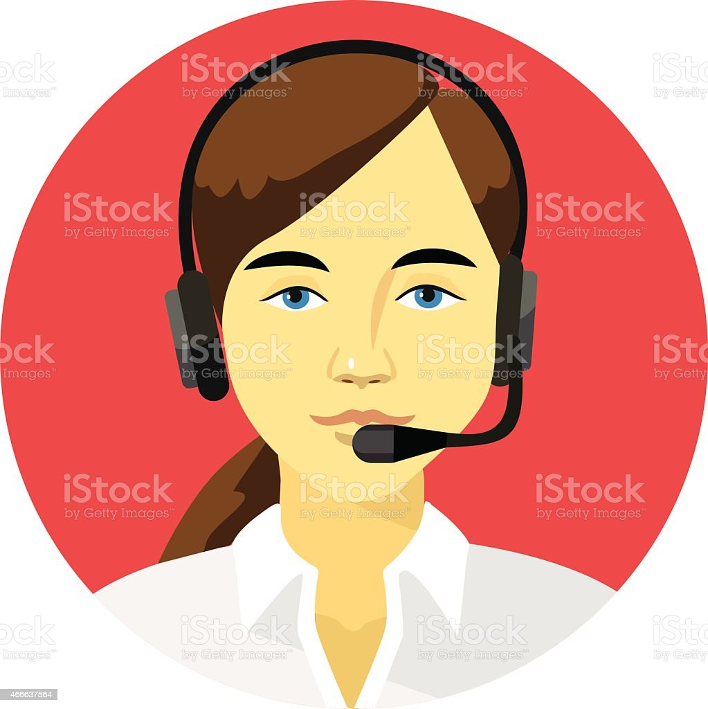 Support manager round icon vector art illustration