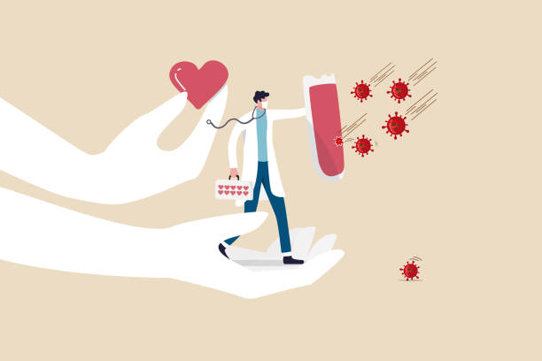 illustrations, cliparts, dessins animés et icônes de soutien du personnel médical, médecin, médecin avec amour pour lutter contre covid-19 coronavirus concept de propagation de l'épidémie, héros médecin plein de soutien et l'amour tenant bouclier pour protéger covid-19 virus pathogène. - medecin covid
