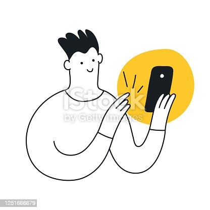 Writing a message concept. The cute cartoon guy is typing a message, chatting with someone, communicates in social networks or through a messenger. Flat clean line vector illustration on white.