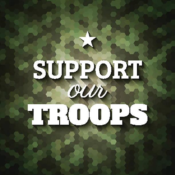 Unterstützung unserer Truppen.   Militär-slogan poster auf geometrischen camoufla – Vektorgrafik