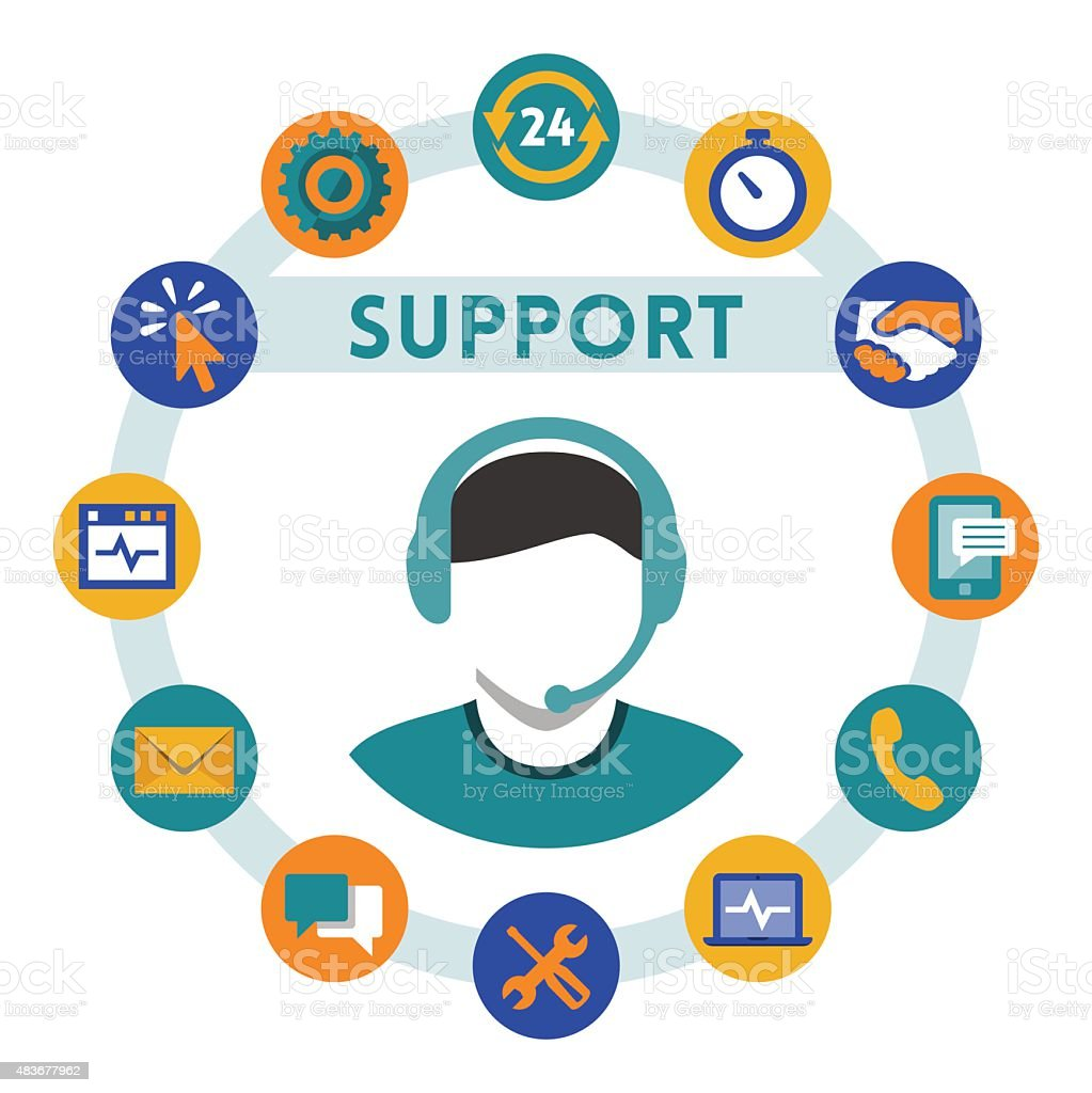 Support related vector icons, man with a headset vector art illustration