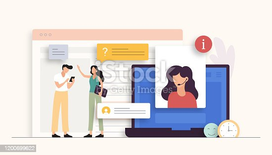istock Support Related Vector Illustration. Flat Modern Design 1200699622