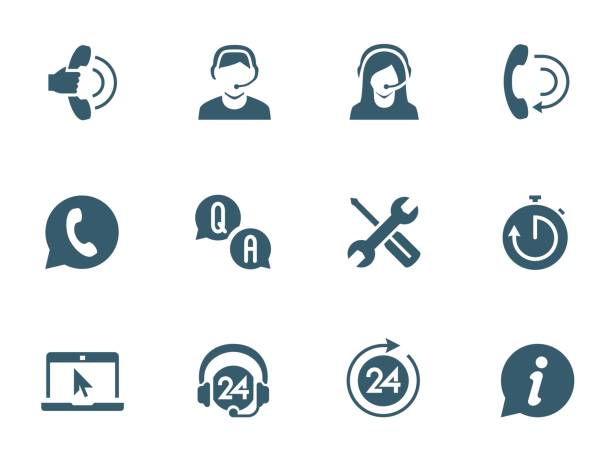 Support service and telemarketing vector icon set Support service and telemarketing vector icon set repairing stock illustrations