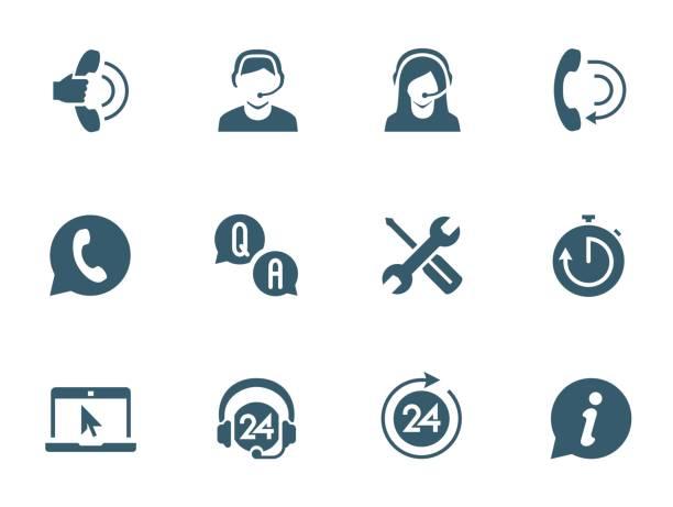 illustrations, cliparts, dessins animés et icônes de soutien service et télémarketing icon set vector - centre d'appels