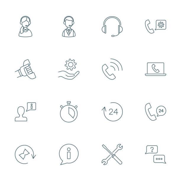 bildbanksillustrationer, clip art samt tecknat material och ikoner med stöd för tjänsten, call center ikoner set - headset