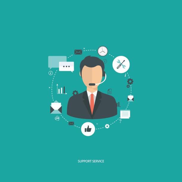 illustrations, cliparts, dessins animés et icônes de concept de service de soutien. illustration design plat avec des icônes. assistant de support technique. - centre d'appels