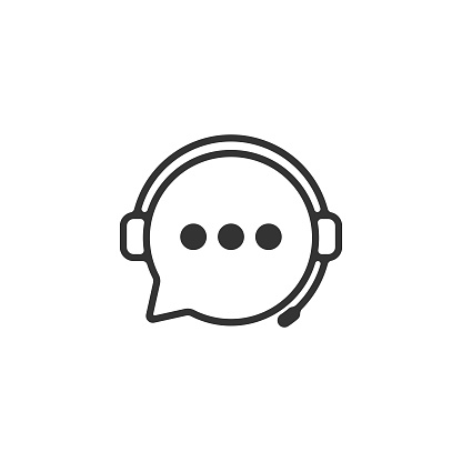 Support Service Icon. Headphones and Chat Bubble Vector Design.