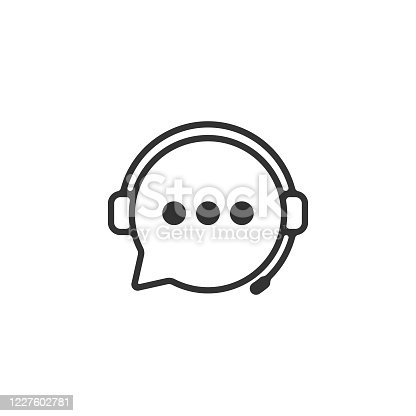 istock Support Service Icon. Headphones and Chat Bubble Vector Design. 1227602781