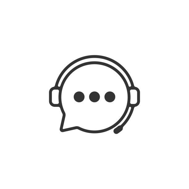 ikona usługi pomocy technicznej. słuchawki i chat bubble vector design. - obsługa stock illustrations