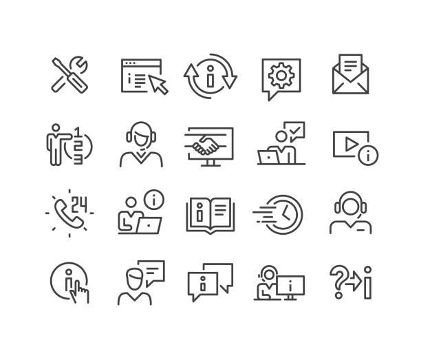 ilustrações, clipart, desenhos animados e ícones de ícones do serviço de suporte - série clássica da linha - afazeres domésticos