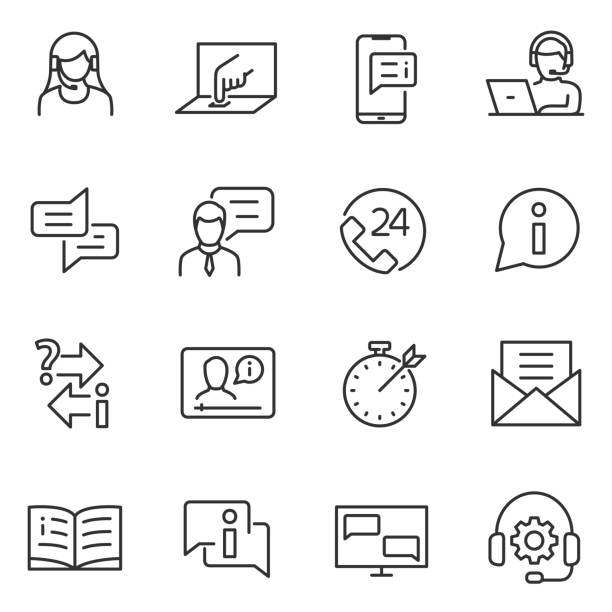 support service linear icons. line with editable stroke. - помощь stock illustrations