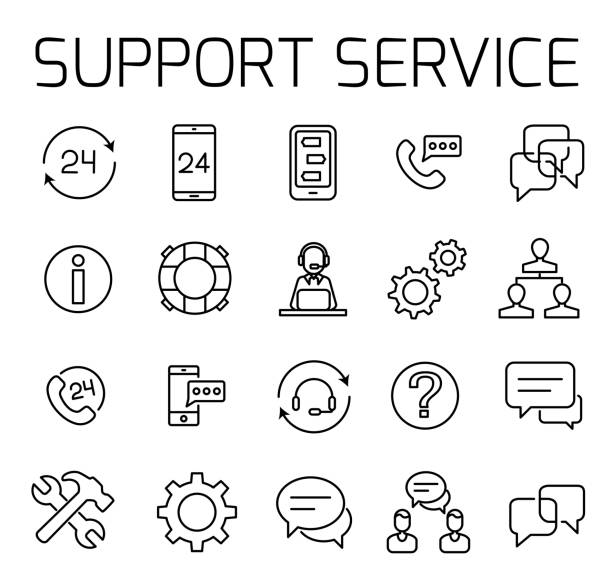 support service related vector icon set - communication problems stock illustrations, clip art, cartoons, & icons