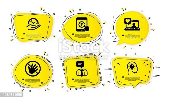 istock Support service, Swipe up and Friends chat icons set. Safe time, Do not touch and Idea head signs. Vector 1282811658