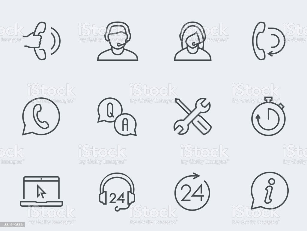 Support service vector icon set, thin line design vector art illustration
