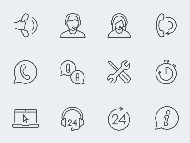 illustrations, cliparts, dessins animés et icônes de soutien service icon set vector, conception mince ligne - centre d'appels