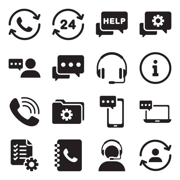 support service vector icon - call center stock illustrations