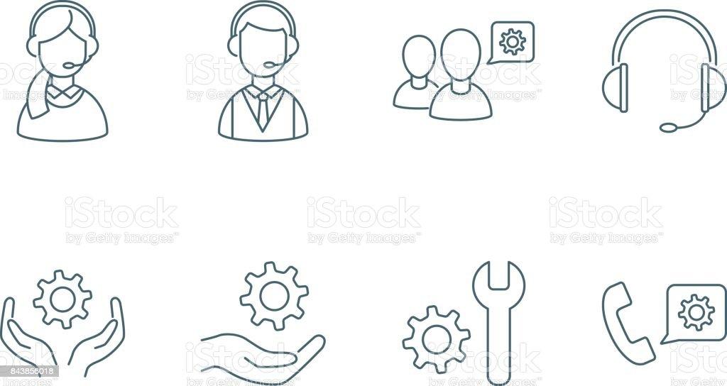 Apoyo conjunto de iconos lineales - ilustración de arte vectorial