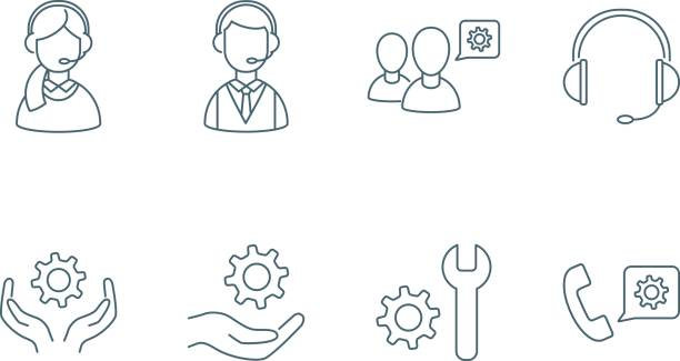 illustrations, cliparts, dessins animés et icônes de prend en charge le jeu d'icônes linéaires - centre d'appels