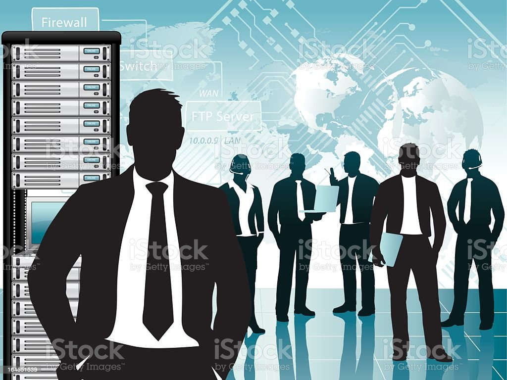 IT support team compromised of businessman silhouettes vector art illustration