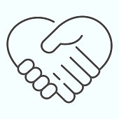 Support thin line icon. Handshaking forming a heart vector illustration isolated on white. Two hands support each other outline style design, designed for web and app. Eps 10