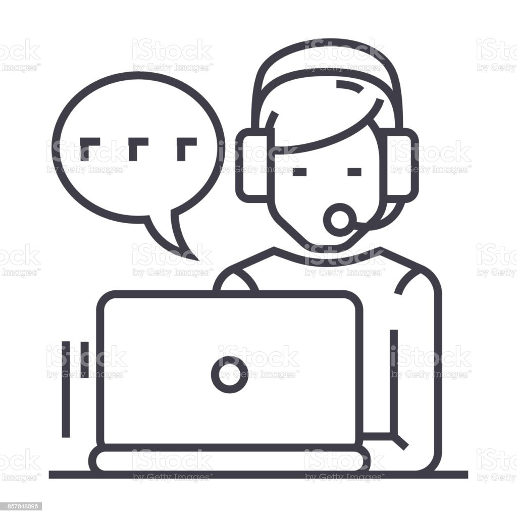 support,customer service,man with computer and headset and chat vector line icon, sign, illustration on background, editable strokes vector art illustration