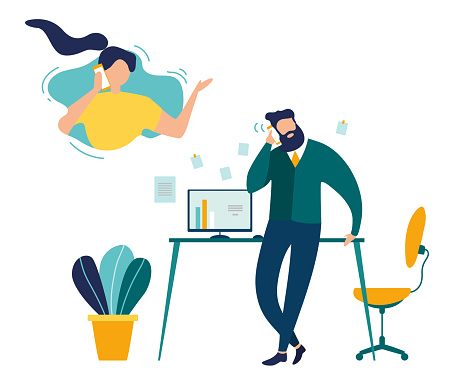 Supporting Clients on Phone Flat Vector Concept