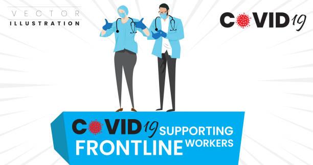 illustrations, cliparts, dessins animés et icônes de soutenir les travailleurs de première ligne concept. médecins confiants, infirmières, travailleurs sociaux ou professionnels de la santé avec masque facial - aide soignant