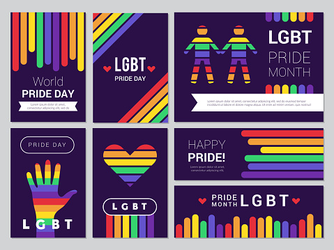 Supportive lgbt set. Colored rainbow banners for lgbt peoples events vector illustrations