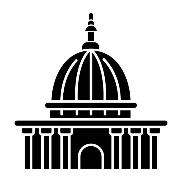 yüksek mahkeme siyah glyph simgesi. en yüksek yargı kurumu. devlet kurumu. adliye. i̇dari ofis. kolluk. beyaz uzayda siluet sembolü. vektör izole illüstrasyon - supreme court stock illustrations