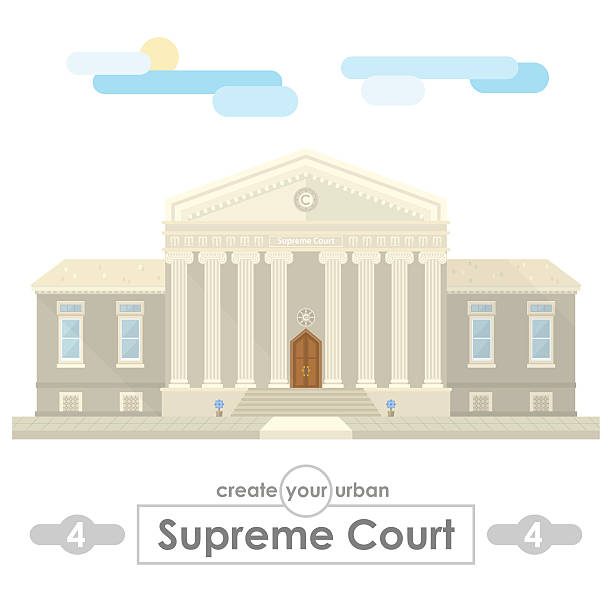 supreme court building flat vector design - supreme court 幅插畫檔、美工圖案、卡通及圖標