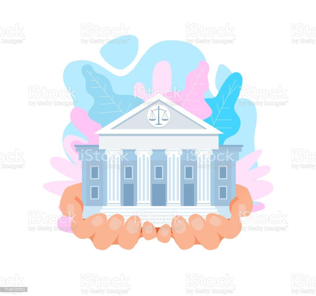 USA högsta domstolen byggnad flat vektor illustration - Royaltyfri Affisch vektorgrafik