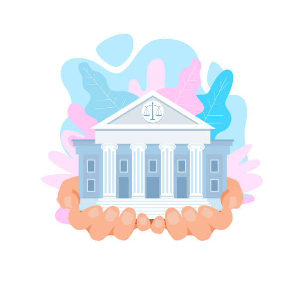 stockillustraties, clipart, cartoons en iconen met us supreme court gebouw platte vector illustratie - historisch document