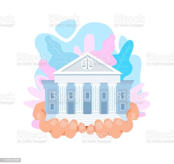 Usa Högsta Domstolen Byggnad Flat Vektor Illustration-vektorgrafik och fler bilder på Affisch