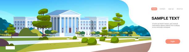 yeşil çim ve ağaçlar peyzaj yatay kopya alanı ile adalet dış mimarlık tasarım adliye ön yard sütunlar hükümet evi ile yüksek mahkeme binası - supreme court stock illustrations