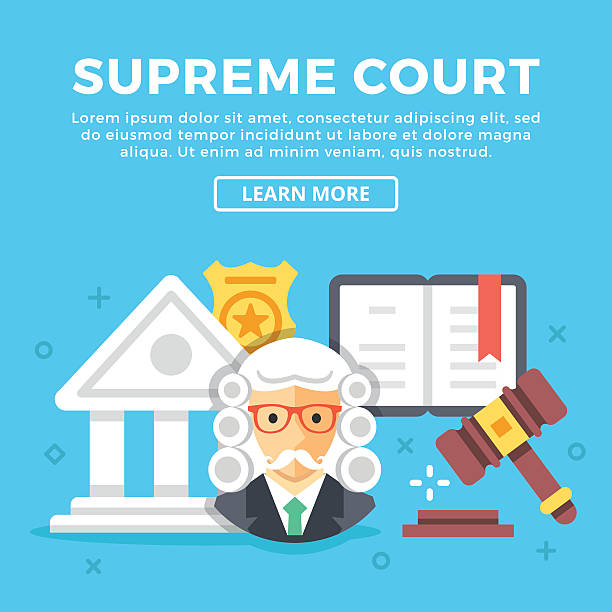 supreme court concept. modern icons, graphic objects. flat vector illustration - supreme court 幅插畫檔、美工圖案、卡通及圖標