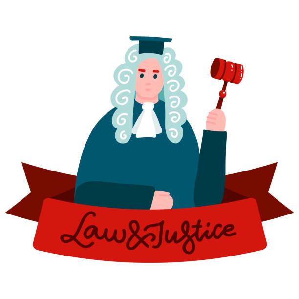yargıtay, yargı sosyal medya banner. yargıç mantle ve peruk karikatür characterwoth şerit üzerinde hukuk ve adalet yazı. yargı hukuku, yasal dava afiş şablonu. düz vektör çizimi - supreme court stock illustrations