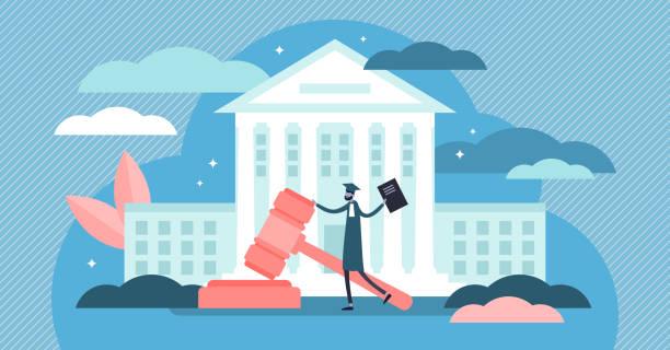 yüksek mahkeme vektör illustration. düz küçük yargıç bina kişiler kavramı - supreme court stock illustrations