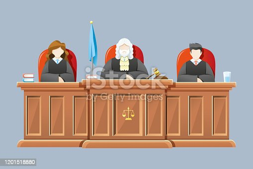 Vector illustration Supreme court with judges sitting on chairs and tables of judges. Concept illustration of law and court, Vector cartoon illustration