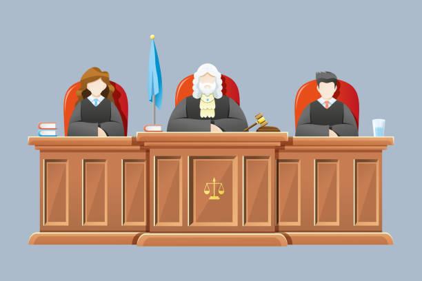hakimler otururken yüksek mahkeme - supreme court stock illustrations