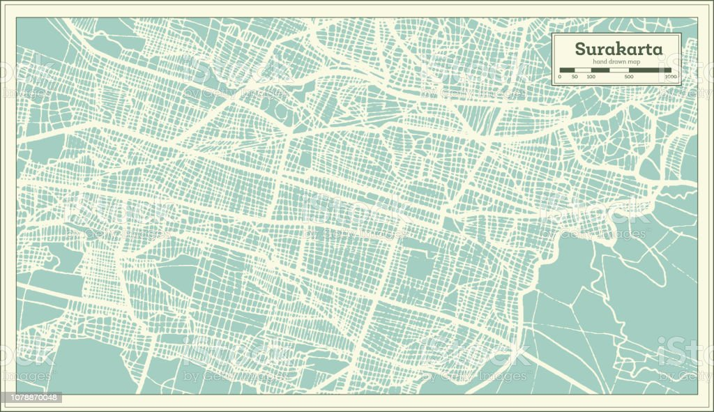 Surakarta Indonesia City Map In Retro Style Outline Map ...